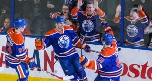 Jordan Eberle and Justin Schultz of the Edmonton Oilers