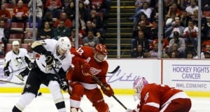 Jimmy Howard and Pavel Datsyuk of the Detroit Red Wings