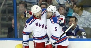 Rick Nash and Dan Girardi of the New York Rangers