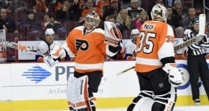Michal Neuvirth and Steve Mason of the Philadelphia Flyers