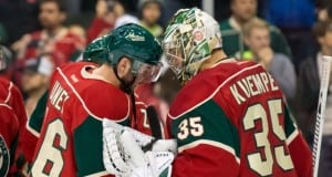 Thomas Vanek and Darcy Kuemper of the Minnesota Wild