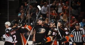 David Perron, Rikard Rakell and Kevin Bieksa