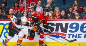 Sami Vatanen of the Anaheim Ducks and Sam Bennett of the Calgary Flames