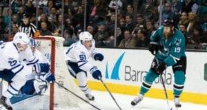 Joe Thornton of the San Jose Sharks and Jake Gardiner of the Toronto Maple Leafs