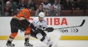 Marian Gaborik on the Los Angeles Kings and Josh Manson of the Anaheim Ducks
