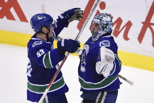 Vancouver Canucks Ryan Miller and Bo Horvat