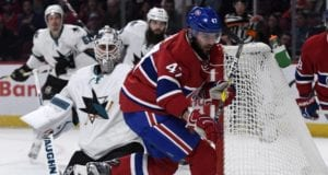 Alexander Radulov of the Montreal Canadiens and Martin Jones of the San Jose Sharks