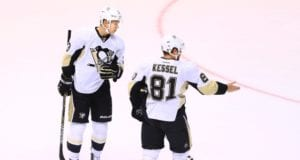 Phil Kessel and Olli Maatta of the Pittsburgh Penguins