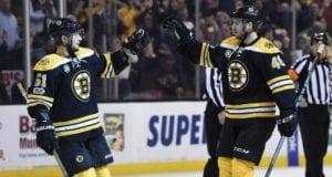 Ryan Spooner and David Krejci of the Boston Bruins