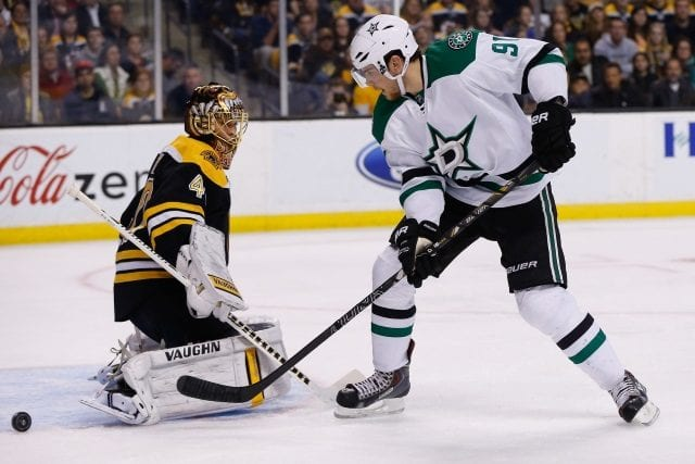Tyler Seguin of the Dallas Stars and Tuukka Rask of the Boston Bruins
