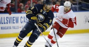Evander Kane of the Buffalo Sabres and Tomas Tatar of the Detroit Red Wings
