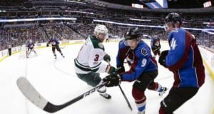 Matt Duchene of the Colorado Avalanche and Charlie Coyle of the Minnesota Wild