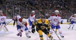 Boston Bruins David Pastrnak against the Montreal Canadiens