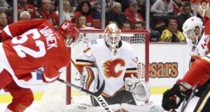 Thomas Vanek then of the Detroit Red Wings and Chad Johnson of the Calgary Flames