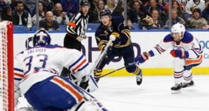 Jack Eichel of the Buffalo Sabres and Cam Talbot of the Edmonton Oilers