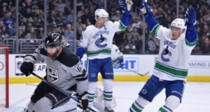 Vancouver Canucks forwards Bo Horvat and Henrik Sedin