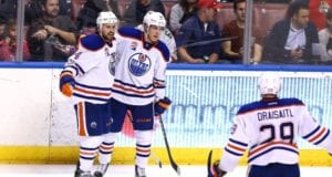 Injured Edmonton Oilers Leon Draisaitl and Drake Caggiula