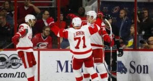Detroit Red Wings Anthony Mantha and Andreas Athanasiou