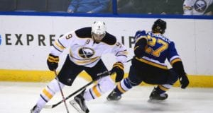 Buffalo Sabres Evander Kane and Alex Pietrangelo of the St. Louis Blues