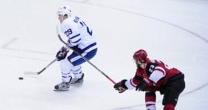 Oliver Ekman-Larsson of the Arizona Coyotes and William Nylander of the Toronto Maple Leafs