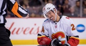 Calgary Flames defenseman Travis Hamonic left last night's game early with a groin injury.