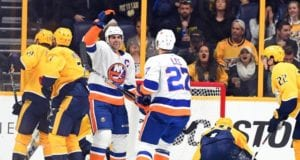 New York Islanders John Tavares scoring on the Nashville Predators