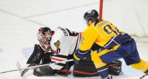 Corey Crawford could be done for the season. Ryan Johansen leaves game early after high hit.