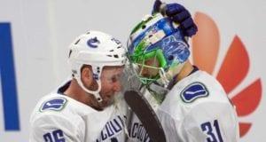 Vancouver Canucks Thomas Vanek and Anders Nilsson