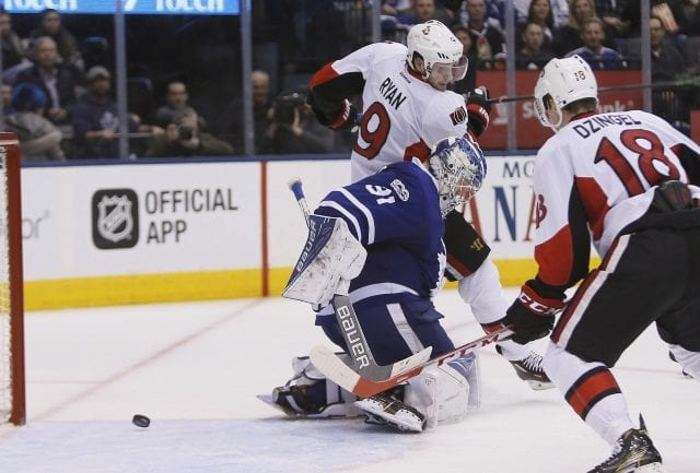 Bobby Ryan out for two-three weeks with a hand injury. Frederik Andersen back at practice after leaving Monday's game